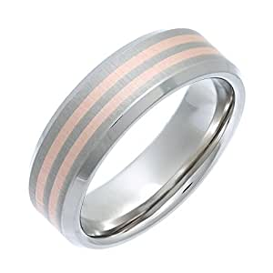 Theia Titanium and 9ct Rose Gold Inlay Flat Court Matt 7mm Ring - Size K