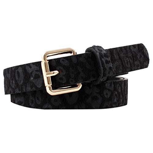 WINLISTING Rreacinturones Cinturones Estampado De Leopardo Mujer Moda Casuales CinturóN.Cinturon Mujer Piel Vaca | (Negra)