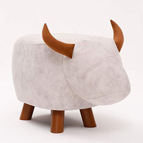 Sofa Hocker Kinder Cartoon Tier Kalb Muster Massivholz Schuhe Bank Mode kreative Erwachsene Bank Schuhe Bank Couchtisch Hocker (Color : White) -