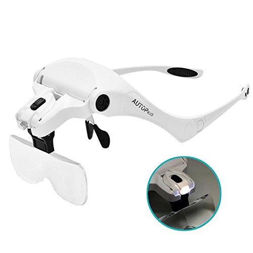 AUTOPkio Lupenbrille mit Licht LED Kopfbandlupe, verstellbare Hände Freie Headset Lupe mit 2 LED Licht Leichte Stirnband Lupe Gläser für Reparieren, 5 Linsen 1.0X, 1.5X, 2.0X, 2.5X, 3.5X