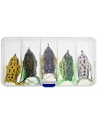 MagiDeal Lot 5pcs/8pcs Souple Grenouille Leurres Appât Crochets de Pêche Basse Bait Tackle Outil avec Boîte