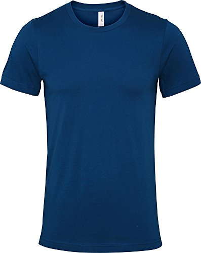 Bella + Canvas Herren Jersey Crew Neck T-Shirt Short Sleeved Modische Casual Top Blau - Stahlblau
