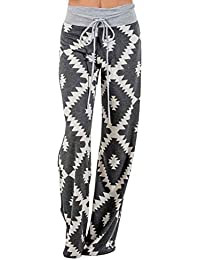 LHWY Women Geometry Printing Drawstring Wide Leg Pants Yoga Legging Extra Long Gym Clothes Tall Ladies Vintage