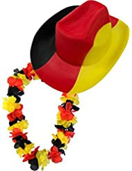 Fußball Cowboyhut und Hawaiikette Deutschland Fan Artikel im Set