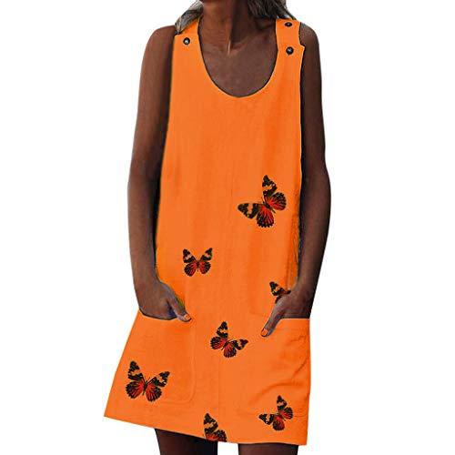 Zottom Damen Kleider,Frauen Boho Sommer Drucke mit Taschen und Knöpfen ärmel Kleid-Strand-Maxi-Kleid
