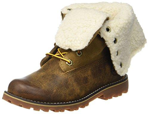 Timberland Kid s 6 Inch Waterproof Shearling Boot   Dark Sudan Brown   1 UK