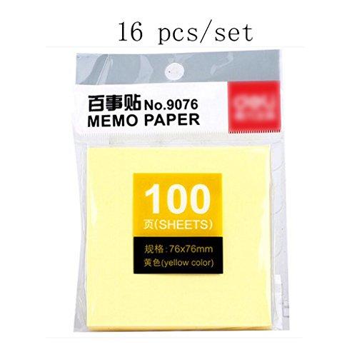 Liu Yu·Bureau, fournitures de bureau fournitures autocollants jaunes 76 * 76mm notes 16 pcs / set