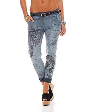 ZARMEXX Pantalones de mujer novio Jeans holgados Jeggings Stretch de pantalones de algodón con la correa 10912...