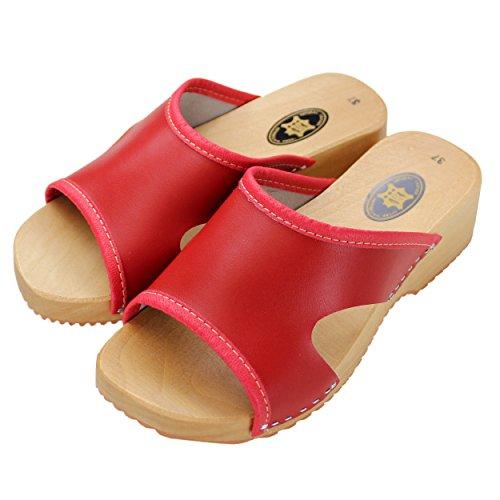 Damen Clogs Holzschuhe Leder Holz Pantoletten mit Absatz Sandalen Bunte Farben Rot