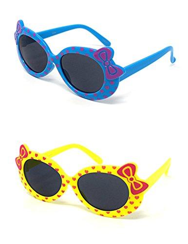 2 x Kinder Kids Mädchen 1 blau 1 Gelbe stilvolle Hello Kitty Style UV400 Sonnenbrille (Kleinkind Kostüme Aviator)