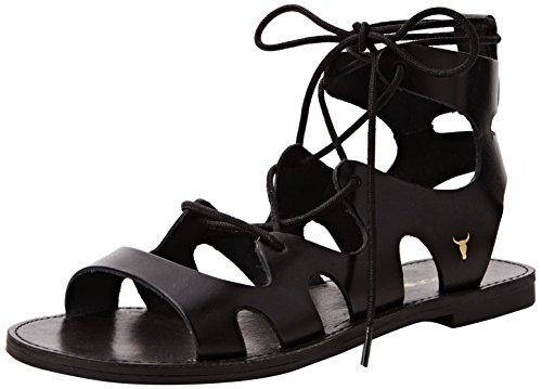 Windsor Smith Baby Leather Sandali con cinturino alla caviglia, Donna, Nero, 38