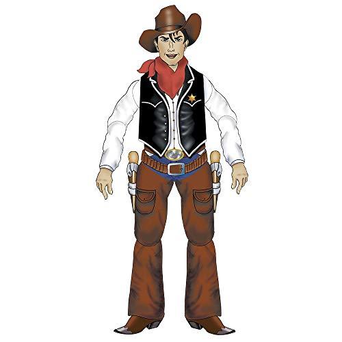 Western Kostüm Themen - Widmann 5065C Beweglicher Cow-Boy, Unisex- Erwachsene, Braun