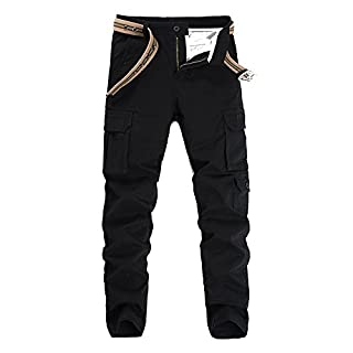Anyu Men's Cargo Trousers Multi Pockets Army Combat Work Trouser Workwear Pants Black 29