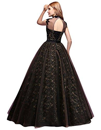 Beauty-Emily Spitze Ball Sash hohe Ansatz Rückenfrei Kugel Brautkleider Schwarz