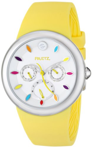 Fruitz by Philip Stein Unisex F43S-TF-Y Stainless Steel Watch with Yellow Silicone Band