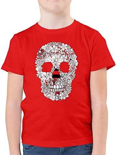 Bunt gemischt Kinder - Totenkopf Blumen Skull Flowers - 152 (12/13 Jahre) - Rot - F130K - Kinder Tshirts und T-Shirt für Jungen -
