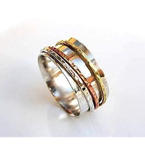 Drei-Ton-Spinner-Ring für Damen, Herren, Unisex, Spinning Silber Meditation Band Ring, Angst Ring