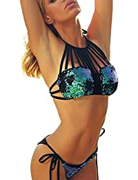 BBring Two Pieces Swimwear For Women Strappy Hollow Out Sequin Tie Sides Bikini Set Beachwear