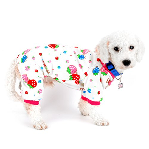 zunea Puppy Innen Outfits Fleece gefüttert Strawberry Hund Pyjama Jumpsuit Kleine Hunde Wintermantel Pet Pitbull Dackel Chihuahua Yorkie Kleider Kleidung Bekleidung