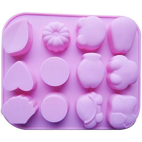 Dansuet 12 Cavit¨¤ antiaderente animale sveglia del gel del silicone muffa della torta di cioccolato della muffa del mestiere Candy sapone cottura Bakeware fai da te, animale del silicone Gel muffa della torta per le donne