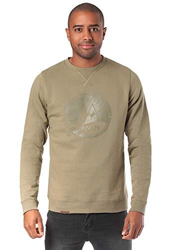 Lakeville Mountain Herren-Pullover Milo Logo, Sweat-Shirt mit Logo-Print, Männer-Pulli, Sweater, Langarm-Shirt, Long-Sleeve, Mermaid Beige, Größe M