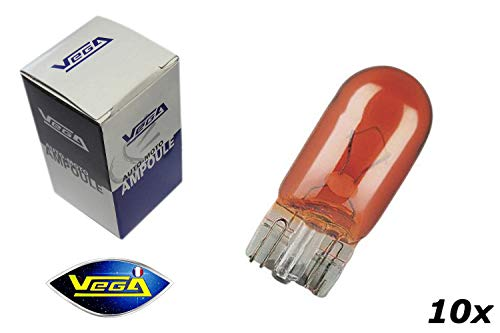 10 ampoules Vega® clignotant WY5W W5W T10 orange 12V