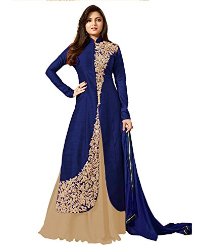 AnK Blue & Cream Banglori Silk Embroidered semi stitched Anarkali salwar suit With Dupatta  available at amazon for Rs.1046