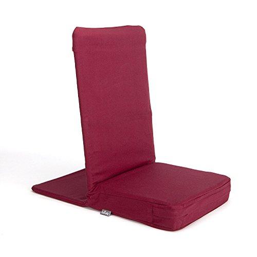 MANDIR Bodenstuhl mit gepolsterter Rückenlehne, Meditationsstuhl mit extra-dickem Sitzkissen (wein-rot) -