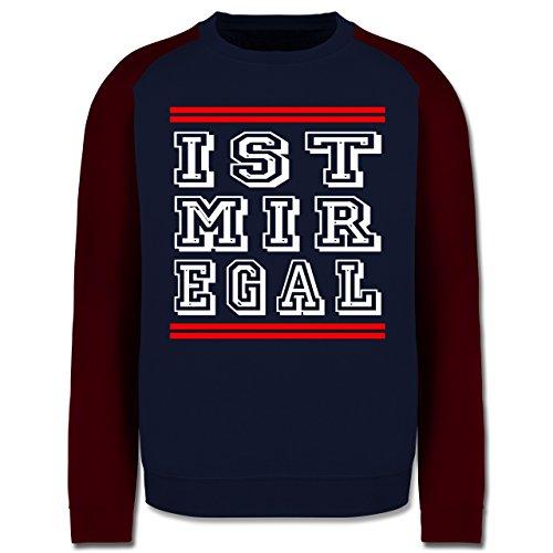 Statement Shirts - IST MIR EGAL - Herren Baseball Pullover Navy Blau/Burgundrot