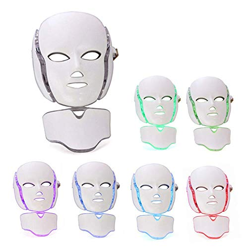 Rziioo 7 Farben LED-Licht Gesichtsmaske Photorejuvenation Anti-Akne-Therapie Hautstraffung Instrument mit Nackenmaske -