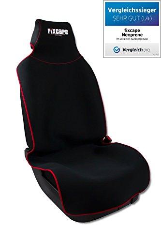 Preisvergleich Produktbild fixcape neoprene, Vergleichssieger Autositzbezüge universal wasserdicht, Autositzbezug Schonbezug Sitzbezug Sitzauflage für das Auto Sitzbezüge Schonbezüge Autositz, Schwarz-Rot