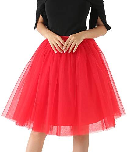 (HAPPY CHERRY Damen Kurz 50er Vintage Tutu Rock Kostüme Petticoat Reifrock Ballett Blase Minirock Tanzkleid)