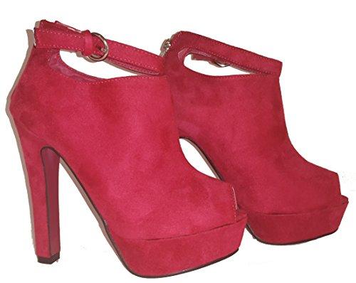 Élégant Pumps Talons hauts peep toe Sandales aspect velours, Chaussures femme, modèle 11064102001047, pour, topaktueller Trend Femme Chaussures, disponible en rouge et vert. Rouge - Rot.
