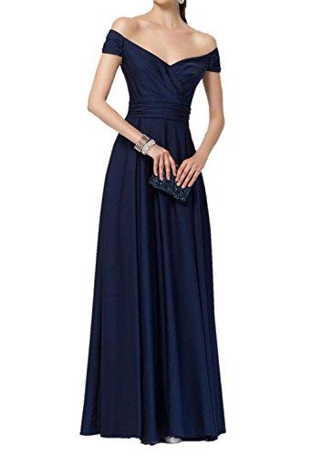Charmant Damen Navy Blau 2017 Neu Einfach Brautjungfernkleider Partykleider Abendkleider Lang A-linie Rock Navy Blau