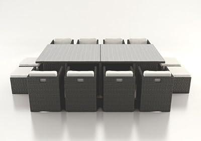 Polyrattan Esstisch Set BOREAS XL schwarz