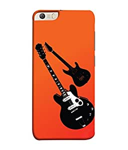 PrintVisa Designer Back Case Cover for Micromax Canvas Knight 2 E471 (Cool Guitars In Orange Design)