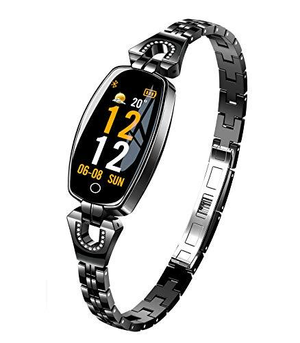 Himeher Luxus H8 Damen Smartwatch Fitnessarmband Wasserdichter Fitness Tracker Intelligentes Armband Pulsmesser Blutdrucküberwachung Kalorienzähler Sport Schrittzähler für Android IOS Google (Schwarz)