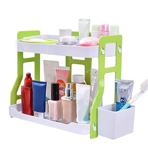 LARRY SHELL 2-Tier-Schicht Multifunktionales Desktop Countertop Ablageboden Küche Spice Rack Badezimmer Organizer Makeup Halter Geeignet für Küche und Bad