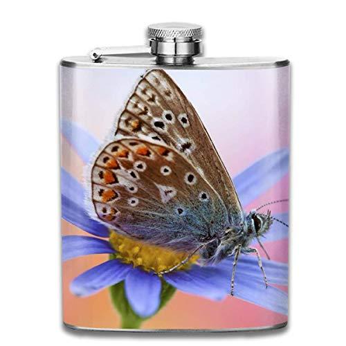 Miedhki - Petaca de Acero Inoxidable 304 con diseño de Mariposas y Flores Azules a Prueba de Fugas, Botella de Vino de 7 onzas