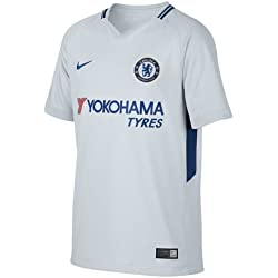 Nike CFC Y NK BRT STAD JSY SS AW Camiseta 2ª equipación Chelsea FC 17-18, Unisex niños, Blanco (Pure Platinum/Rush Blue), S