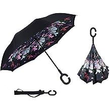 Manfâ paraguas invertido a prueba de viento, paraguas invertido para mujeres con protección UV,