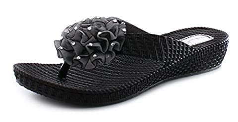 New Ladies/Womens Black Soft Jelly Flexi Flip Flops/Toe Post Sandals - Black - UK SIZE 7