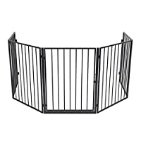 Nisorpa 5 Panel Fireplace Fence Guard, Baby Safety Barrier, Hearth Gate Pet Dog Cat Christmas Tree Fence, Wide Barrier Gate with Walk Through Door