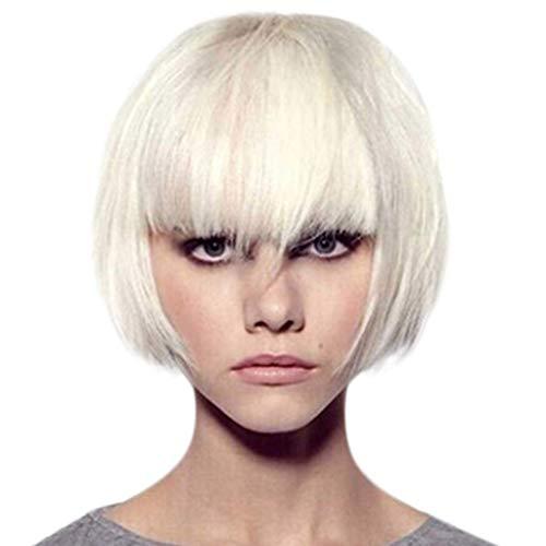 HCFKJ 2019 Mädchen Mode Kurze Weiße Coole Perücke Frauen Hübsche Realistische Kurze Haar Perücke ()