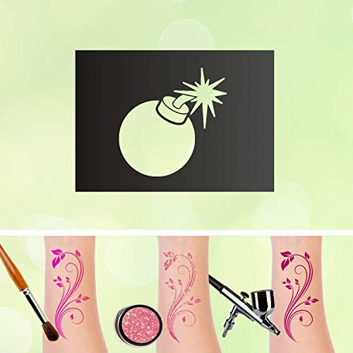 Tattoo Plantilla Bombe purpurina Tatuajes auto-adhesivos