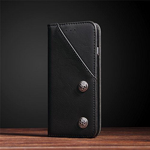 SKKMA Case Cover Pour iPhone 7 motif en texture de bronze Style décontracté Horizontal Flip Stand Housse en cuir avec porte-cartes et embouts de cartes ( Color : Brown ) Black