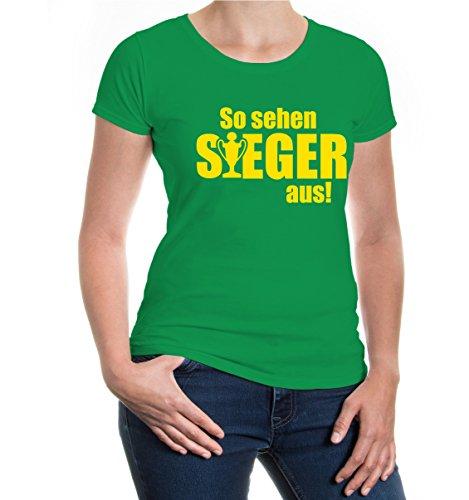 buXsbaum® Girlie T-Shirt So sehen Sieger aus Kellygreen-Sunflower