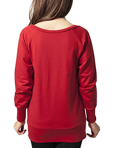 Urban Classics TB607 Damen Sweatshirt Ladies Wideneck Crewneck Rot (red 199)