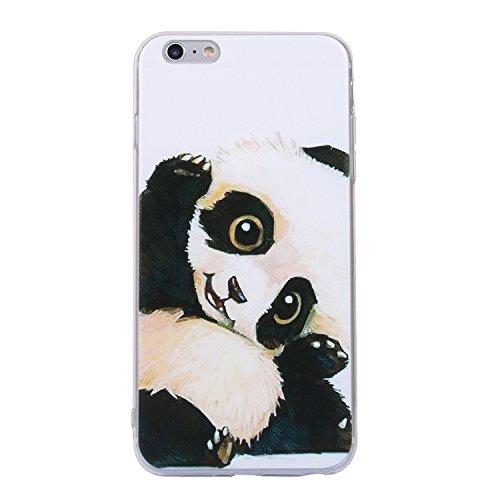 iphone 6 Plus/6s Plus Handyhülle,iphone 6 Plus/6s Plus Silikon Hülle,Cozy Hut 3D Handyhülle Muster Case Cover Für iphone 6 Plus/6s Plus Liquid Crystal Ultra Dünn Crystal Clear Transparent Handyhülle S Schwarz-Weiß-Panda