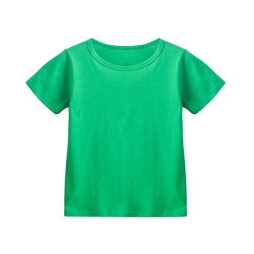 unday Kinder Jungen Mädchen Solid Candy Farbe Tops T-Shirts Outfits Kleidung Tops Kurzarm Sommershirt Baumwolle (Grün, Alter: 3J) (Grüne Spitze Hüte)